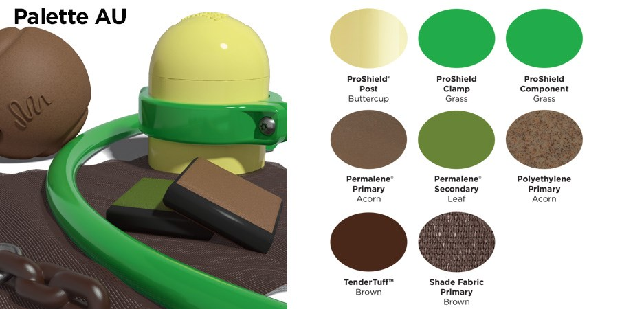 Proprietary color AU palette with colors of cream, green, and brown.