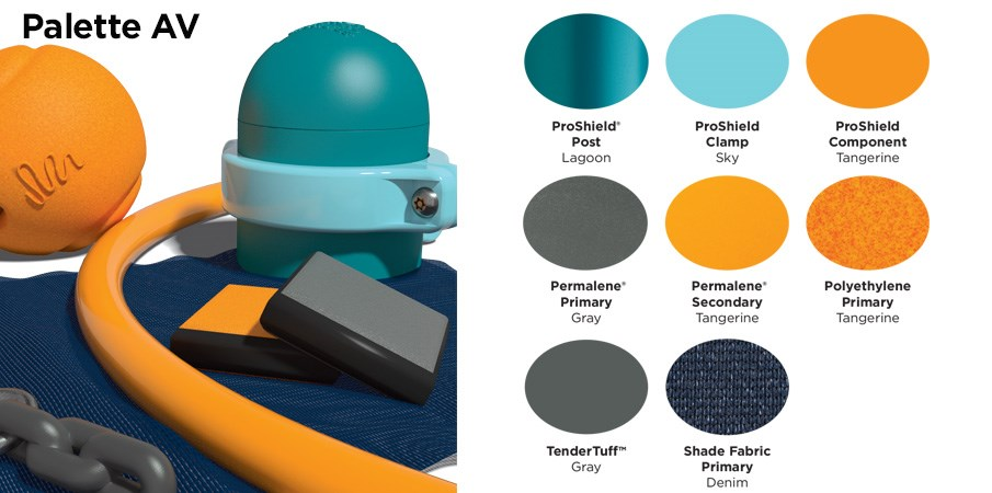 Proprietary color AV palette with colors of teal, light blue, tangerine orange, and gray.