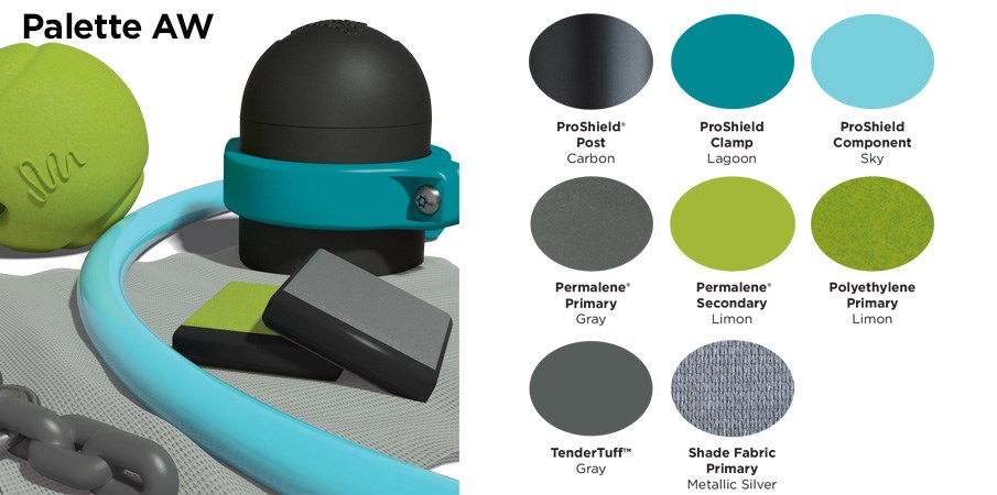 Proprietary color AW palette with colors of black, teal, light blue, lime green, and gray.