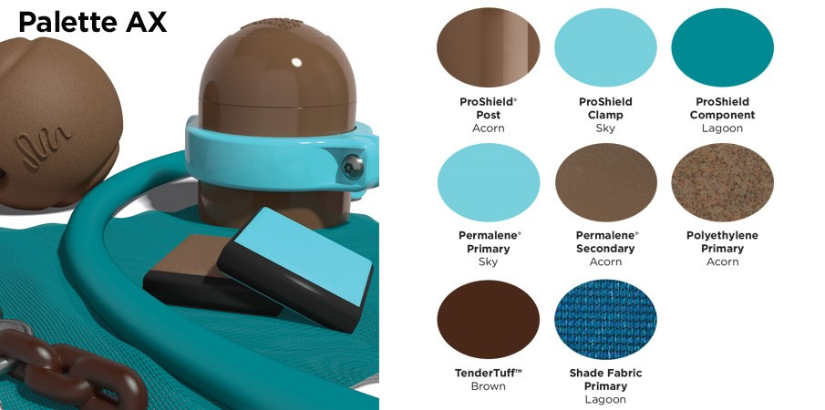 Proprietary color AX palette with colors of brown, light blue, teal, and brown.