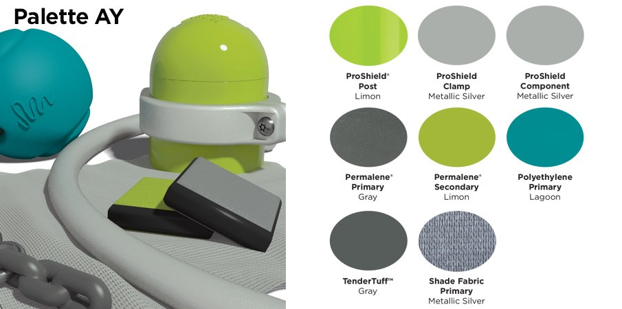 Proprietary color AY palette with colors of lime green, silver, teal, and gray.