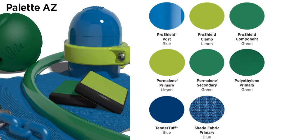 Proprietary color AZ palette with colors of blue, lime green, and grass green.