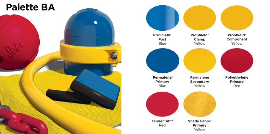 Proprietary color BA palette with colors of blue, yellow, and red.
