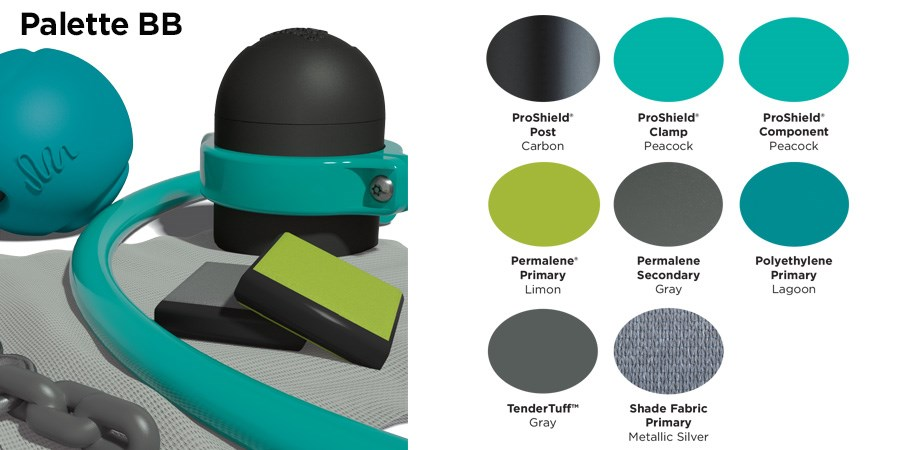 Proprietary color BB palette with colors of black, light and dark teal, lime green, and gray.