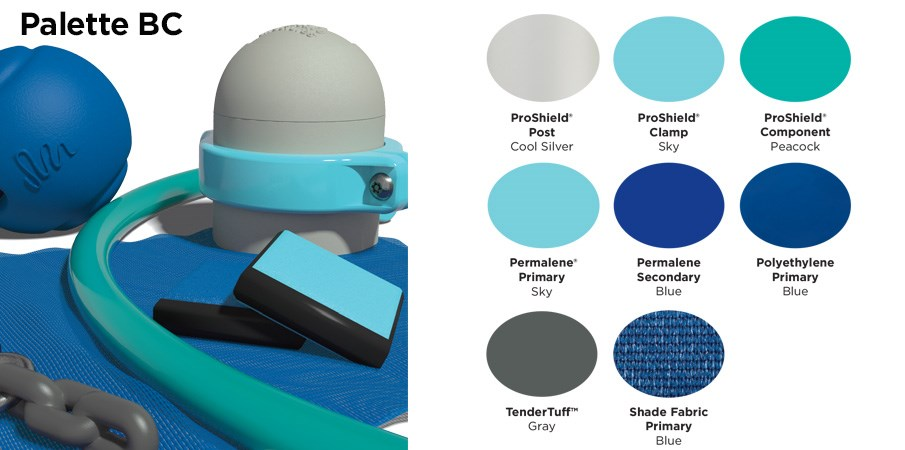 Proprietary color BC palette with colors of silver, sky blue, teal, royal blue, and gray.