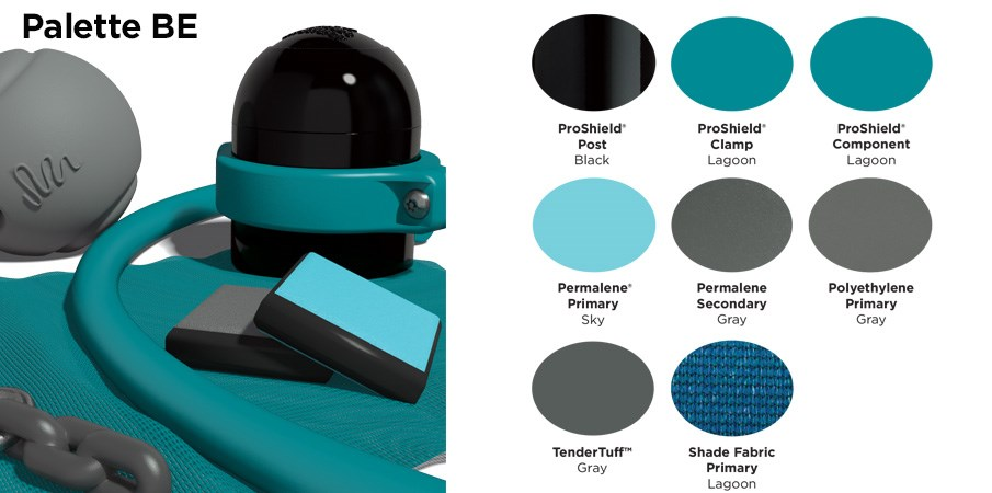 Proprietary color BE palette with colors of black, light and dark teals, and gray.