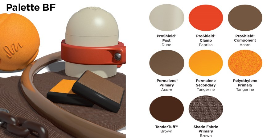 Proprietary color BF palette with colors of tan, tangerine orange, bunt orange, and browns.