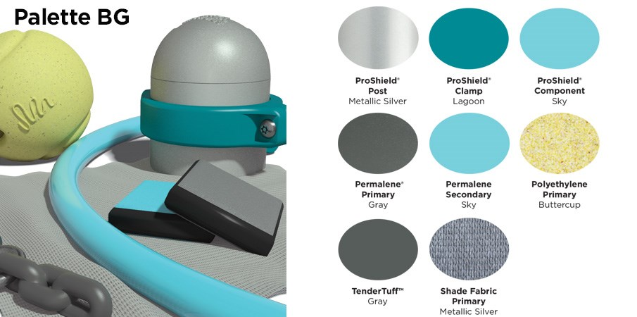 Proprietary color BG palette with colors of silver, teal, sky blue, gray, and speckled light green.
