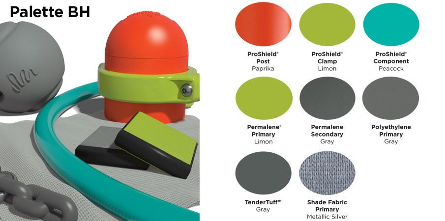 Proprietary color BH palette with colors of burnt orange, lime green, teal, and gray.