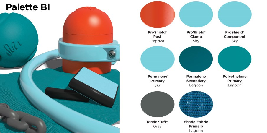 Proprietary color BI palette with colors of brunt orange, sky blue, teal, and gray.