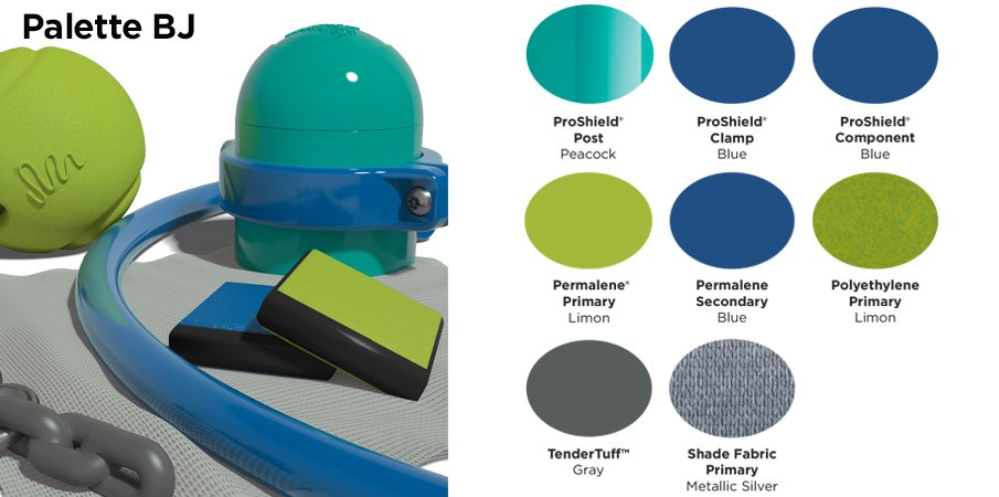 Proprietary color BJ palette with colors of teal, blue, lime green, and gray.