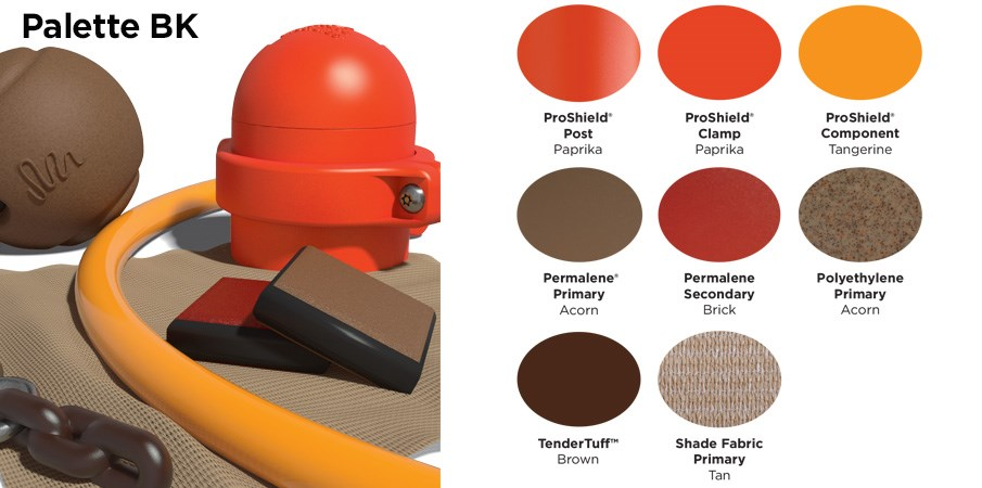 Proprietary color BK palette with colors of burnt orange, brick red, brown, and tan.
