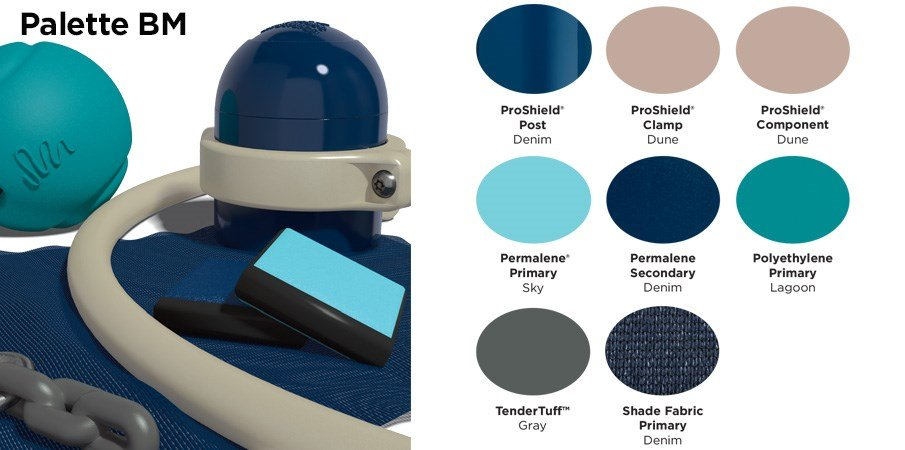Proprietary color BM palette with colors of navy blue, tan, sky blue, teal, and gray.