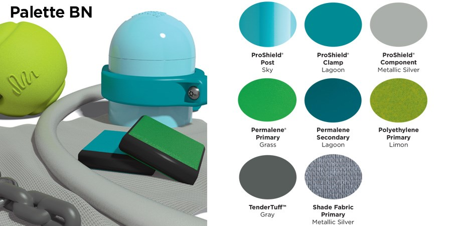 Proprietary color BN palette with colors of sky blue, light and dark teal, silver, green, lime green, and gray.