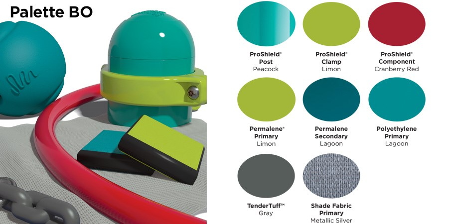 Proprietary color BO palette with colors of light and dark teal, lime green, cranberry red, and gray.