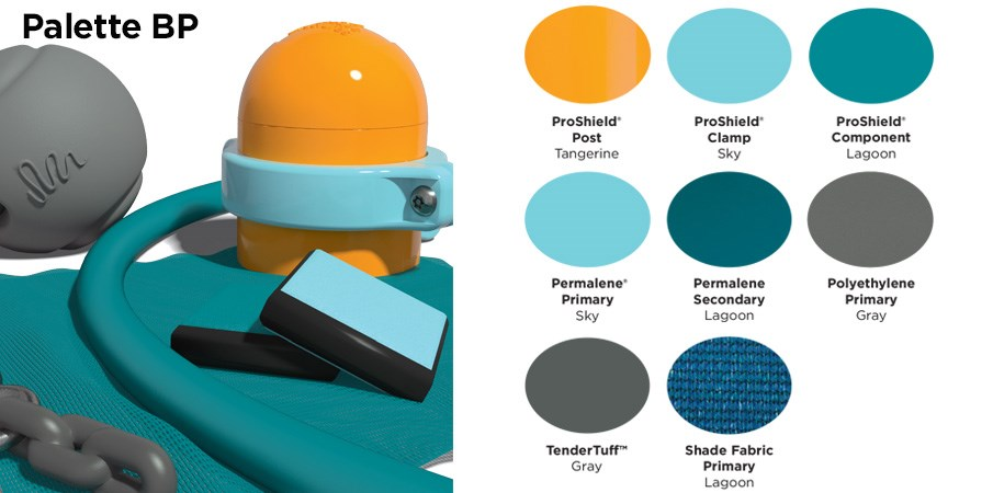 Proprietary color BP palette with colors of tangerine orange, sky blue, light and dark teal, and gray.