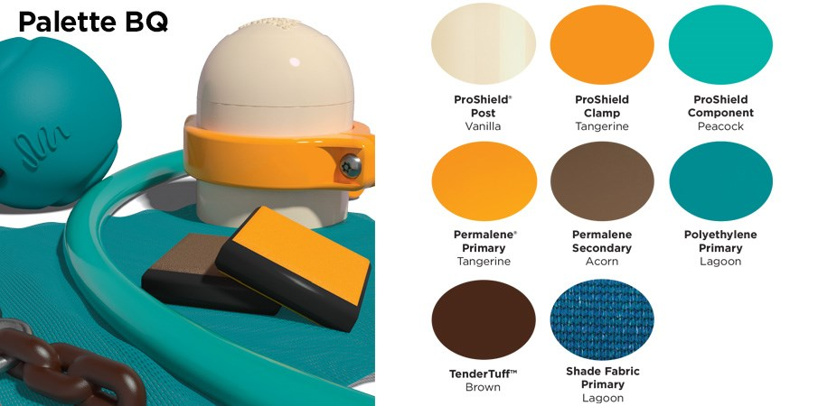 Proprietary color BQ palette with colors of cream, tangerine orange, brown, and light and dark teal.