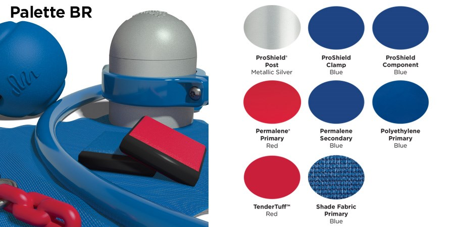 Proprietary color BR palette with colors of silver, blue, and red.