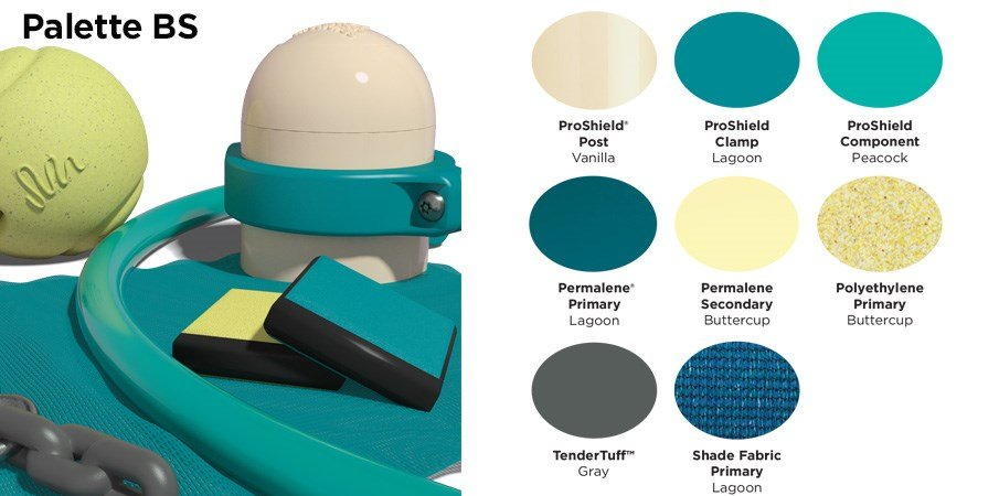 Proprietary color BS palette with colors of cream, light and dark teal, light yellow, and gray.