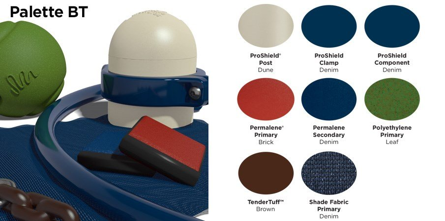Proprietary color BT palette with colors of tan, brick red, navy blue, green, and brown.