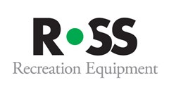 "Ross Recreation Equipment logo made of an R and two SS black bold font. O white with green dot for center of ""o"". Grey text below reads: Recreation Equipment."