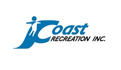 Coast Recreation logo made of a blue C of the word coast has a slide shape coming off the back with a child silhouette sliding down. Text below in black reads: Recreation Inc.