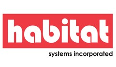 Habitat Systems Incorporated logo made of red rectangle with white text reading: habitat. Text black below reading: systems incorporated.