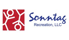 Sonntag Recreation logo made of red square with two white stick figures one right side up the second upside-down. Blue Text to the right reads Sonntag Recreation.