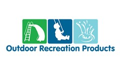 Outdoor Recreation Products logo made of three squares, left square green with white slide vector image, middle square dark blue with a white silhouette of a young boy swinging, right square is light blue with white water ripple splash vector. Text below reading: Outdoor Recreation Products.