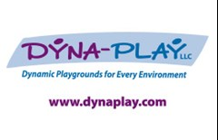 Dyna-Play logo made of a slanted light blue rectangle with text in purple and blue reading: Dyna-Play LLC. Text below in blue reads: Dynamic Playgrounds for Every Environment. Purple text below reading: www.dynaplay.com