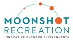 "Moonshot Recreation Innovative Outdoor Environments logo made of curved moon shape line with four orange circles smallest to largest. Largest circle is the ""o"" in the text Moonshot. Text below reads: Recreation Innovative Outdoor Environments."