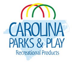 Carolina Parks and Play Recreation Products logo made of the North and South Carolina state shapes with red, yellow, and green half-moon shapes above text reading: Carolina Parks & Play Recreation Products.