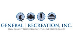 General Recreation logo made of four circles containing a black silhouettes of a boy skateboarding, a couple sitting on a bench, a child swinging, a gazebo. Text below reads: General Recreation, From Concept Through Completion, We Deliver Quality.
