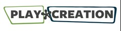 "PlayCreation logo with the word ""Play"" in all capitals has a lighter green skewed rectangle shape outlining it. Bold rounded asterisk in the middle. ""Creation"" all capitalized has a dark green skewed rectangle shape outlining it."