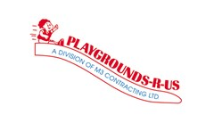 Playgrounds-R-Us logo made of a young child drawing in red sliding down the top of a slide shape. Bold red text follows the shape of the slide in front of the child reading: Playgrounds-R-Us. Blue text inside the slide in all capitals reads: A Division of M3 Contracting LTD.