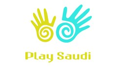 Play Saudi logo made of a small yellow hand on left with spiral cut out in the palm and a  larger aqua hand on right with the same spiral cut out in the palm.. Text below in yellow reads: Play Saudi.