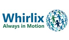 Whirlix logo made of blue text reading Whirlix. Green text below reads: Always in Motion. A sphere shape made up of different blue and green children holding hand silhouettes.
