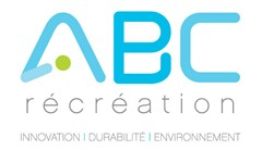 ABC Recreations logo made of uppercase blue A B C in robotic text. A green circle in middle of A. Text below in grey in lowercase letters reads: récréation. Grey text below in all capitals reads: Innovation, Durbilité, Environnement. Each word is separated by a blue vertical line.