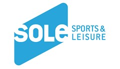 Sole logo made of rounded rhombus shape with text of sole cute out in white. Text to right in all uppercase blue letters reading: Sports & Leisure.