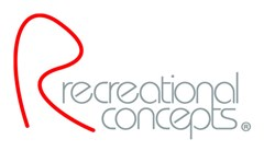 "Recreational Concept logo made of a red hand drawn ""R"" with grey text to the right in lower case reading: recreational concepts."
