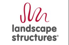 Landscape Structures logo made of a red squiggle above the text Landscape Structures on a tan background