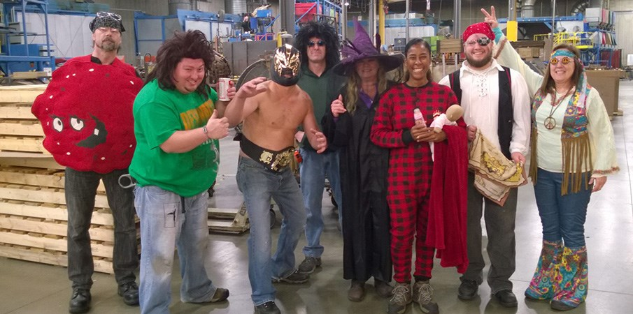 A group of Landscape Structures employees pose for the camera in their Halloween costumes.