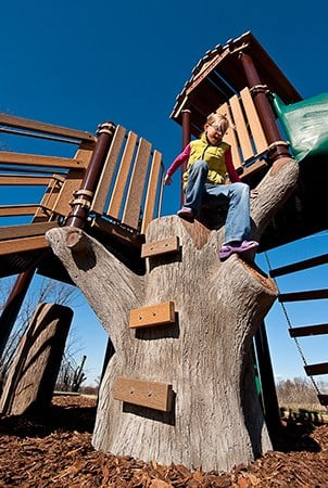 A girl climbs down a discovery tree climber.