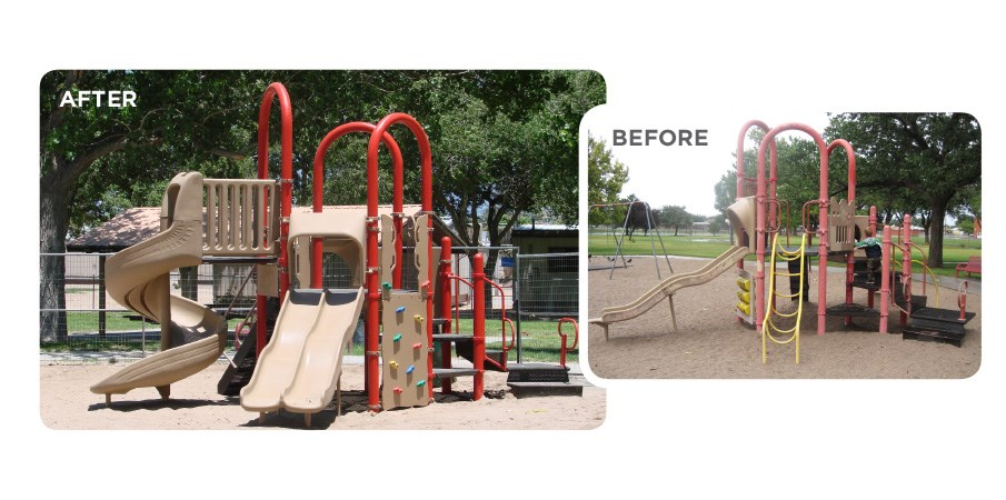 Before and after images of a retrofit program used on a red and tan playground.