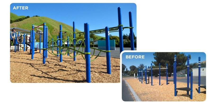 Before and after images of a retrofit program used on a blue playground.