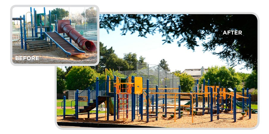 Before and after images of a retrofit program used on a playground next to a baseball field.