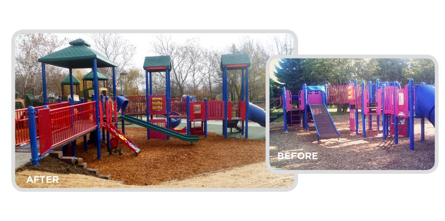 Before and after images of a retrofit program used on a park playground, making it into a inclusive playground.