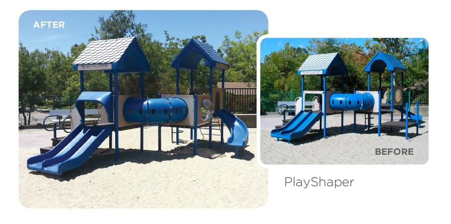 Before and after images of a retrofit program used on a play shaper playground.