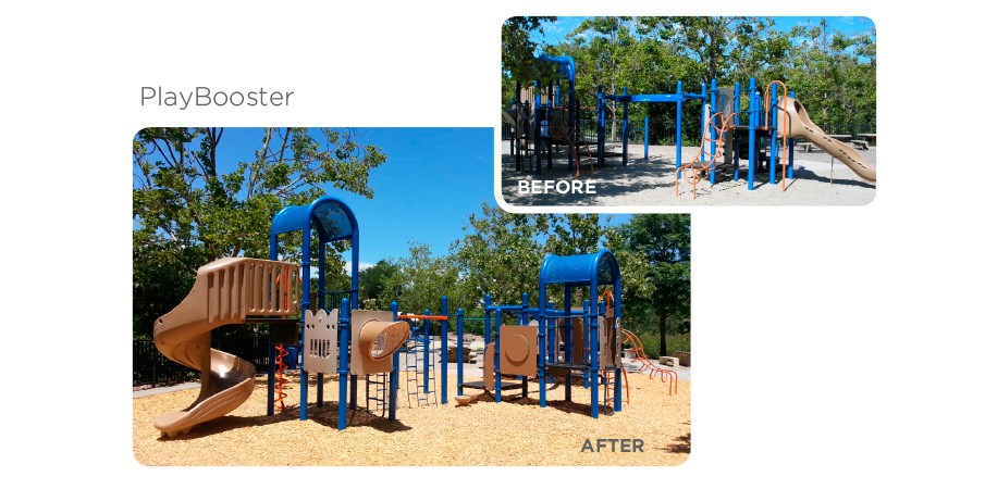 Before and after images of a retrofit program used on a park playground,.