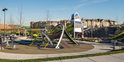 The Maple Grove playground with Crab Trap and Alpha Tower in Minnesota.